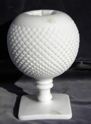 English Hobnail Vintage Westmoreland Milk Glass Ivy Ball Flower Pot