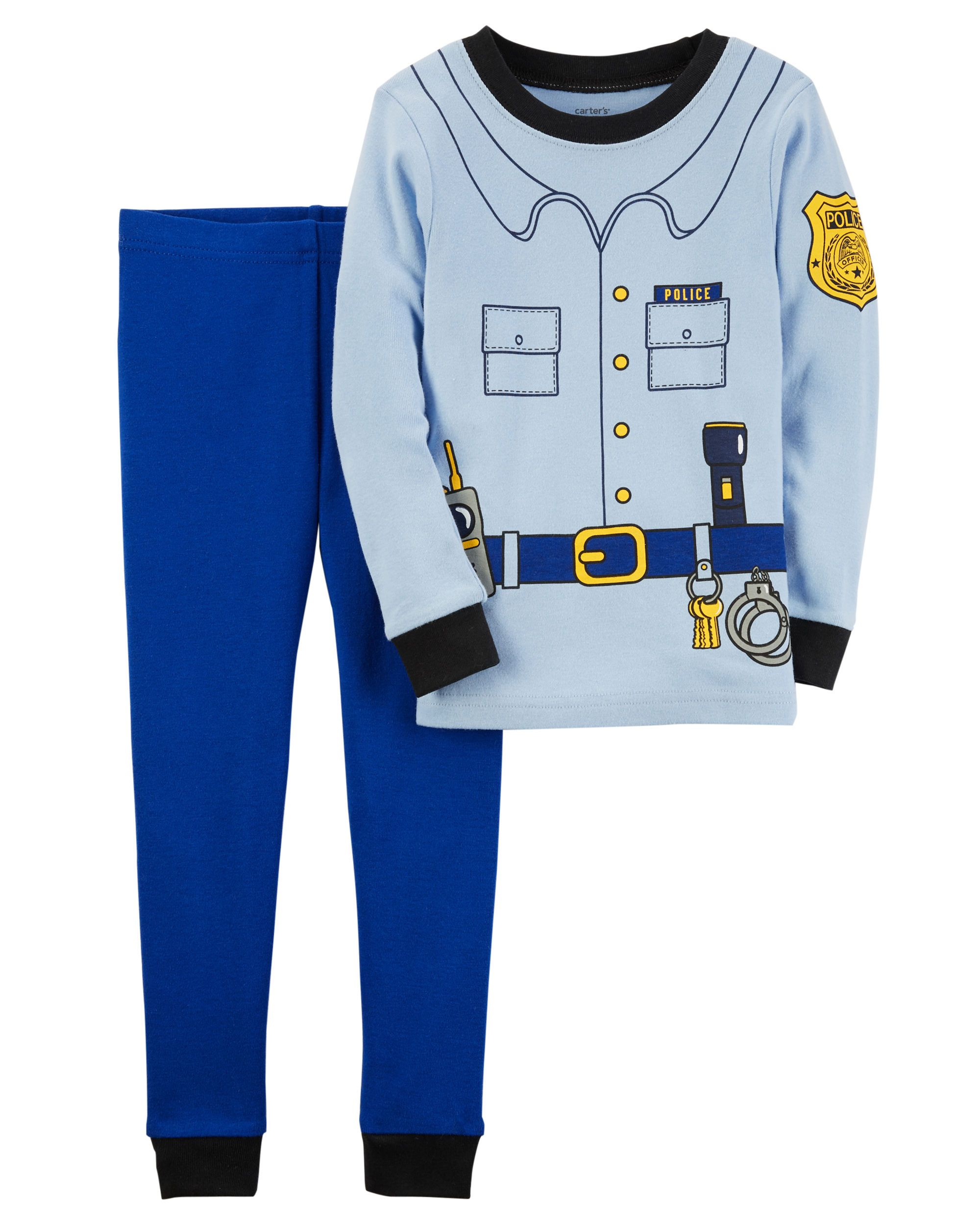 681b352ed2d9 2-Piece Police Officer Snug Fit Cotton PJs