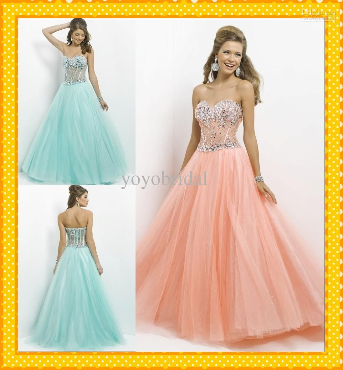 Wholesale prom dresses buy fancy peach coral mint sweetheart see
