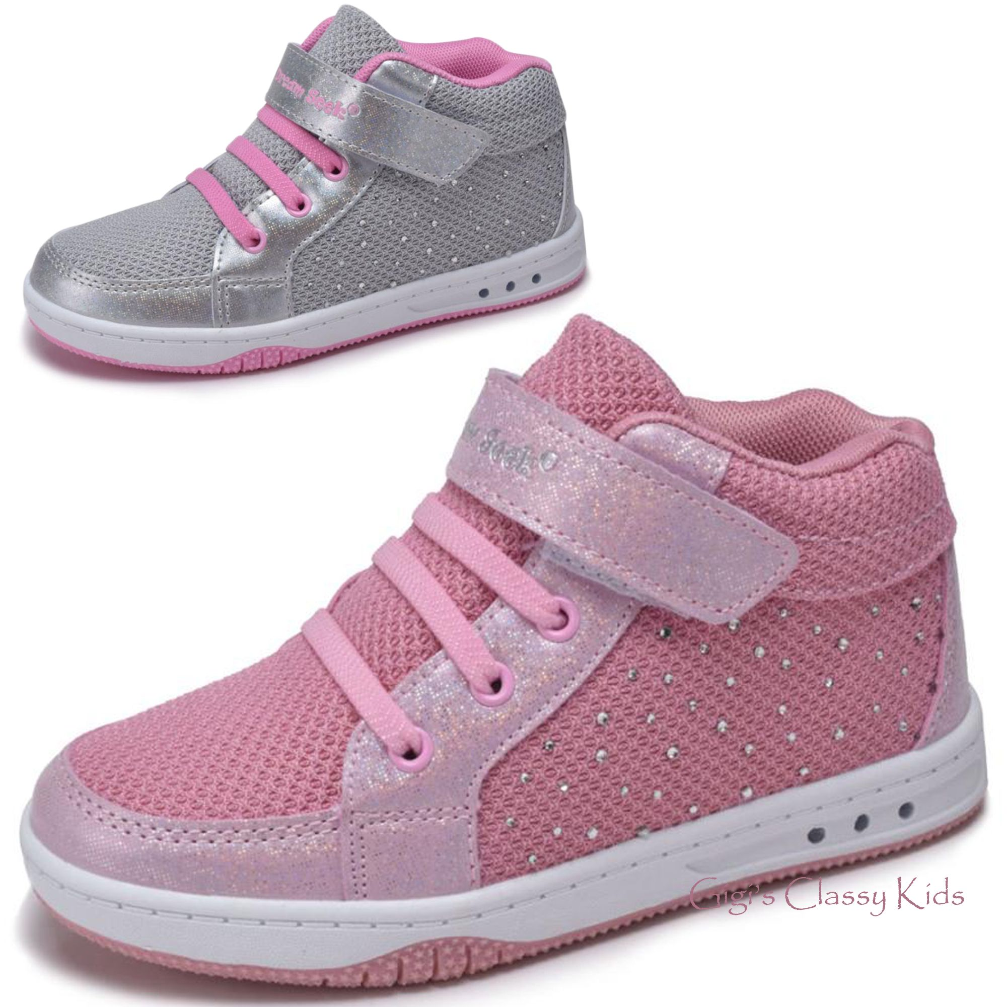 Girls Tennis Shoes High Top Glitter Sneakers Kids Youth Athletic Strap Casual Girls Tennis Shoes Glitter Sneakers Girls Shoes