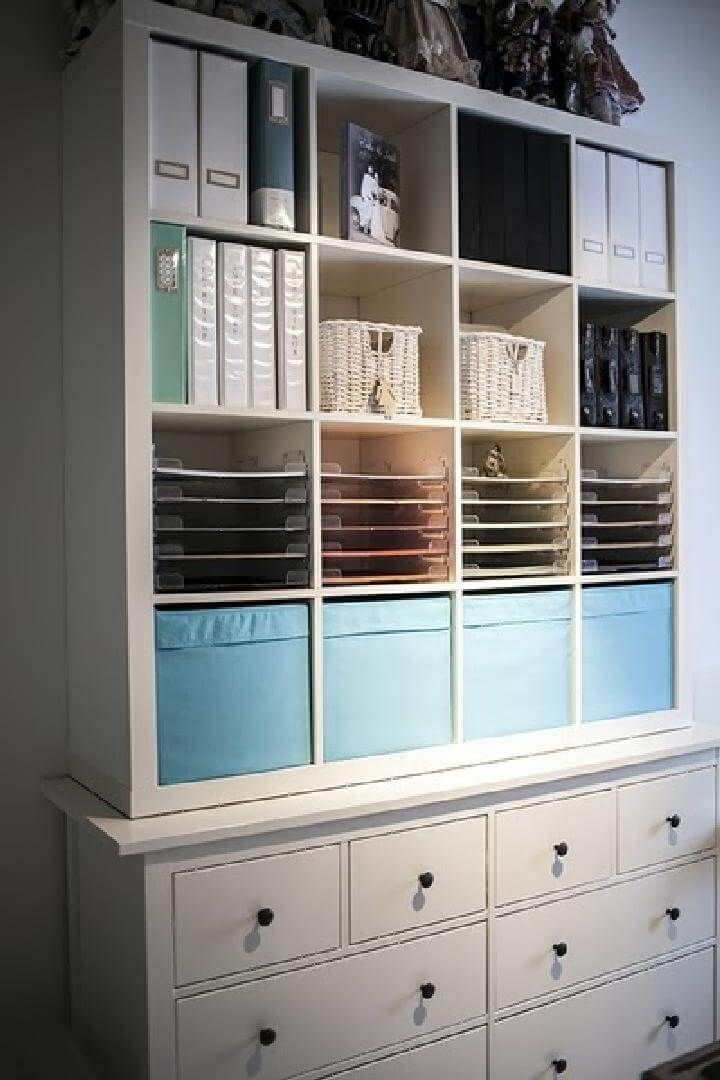 60 Ikea Kallax Shelf Hacks Or Diy Expedit Shelf Ikea Crafts Craft Room Office Ikea Kallax Shelf