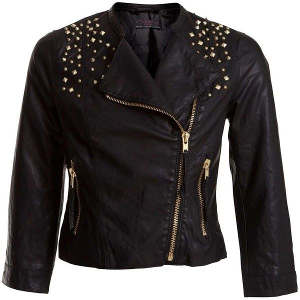 Studded Leather Look Biker Jacket ($29) ❤ liked on Polyvore featuring outerwear, jackets, tops, casacos, studded jackets, motorcycle jackets, biker jacket, moto jacket and side zip jacket