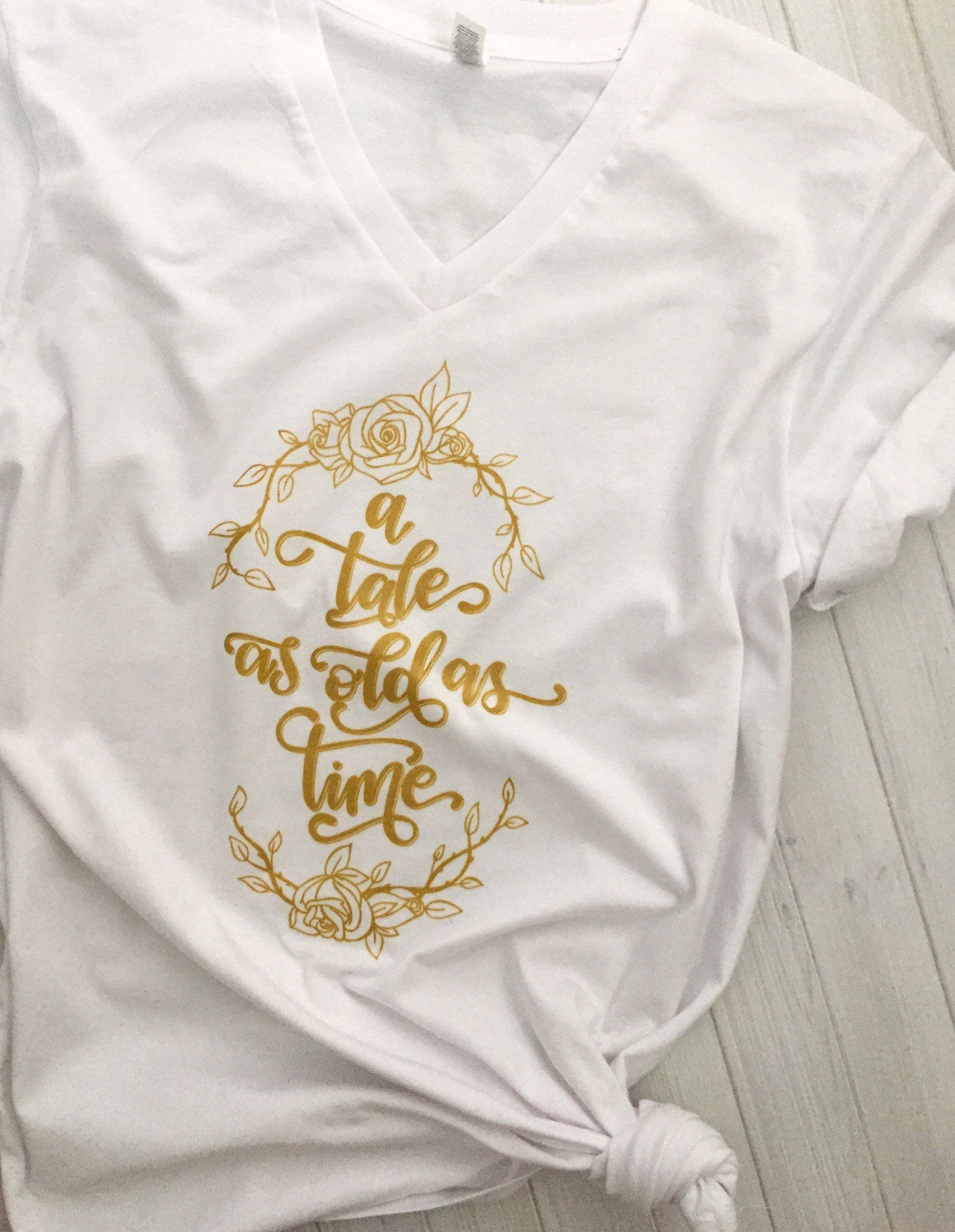 A Tale As Old As Time Beauty & the Beast Vneck Tshirt Shimmering