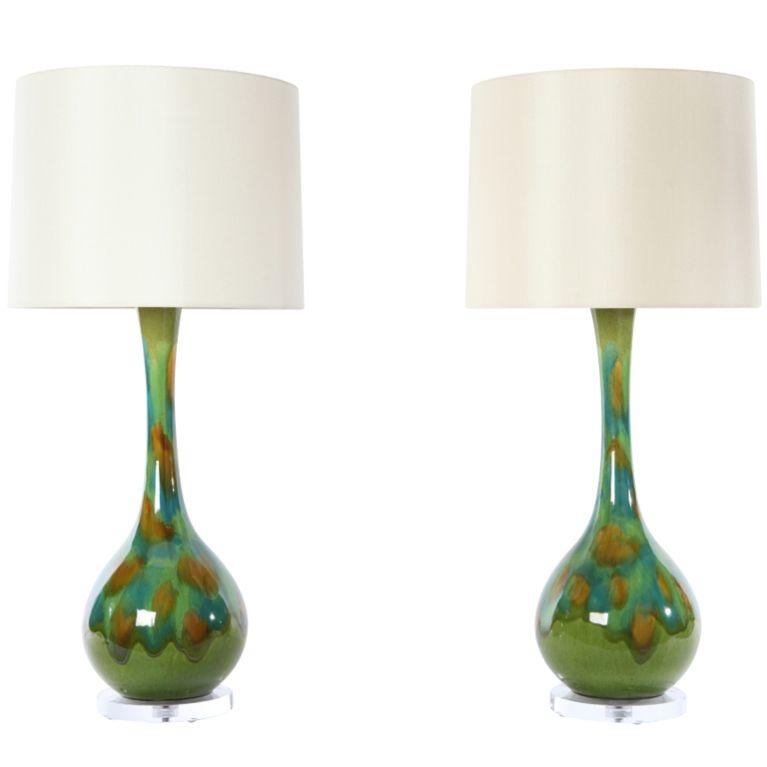 Pair Of Ceramic Drip Glaze Lamps Lamp Vintage Table Lamp Unique Lamps