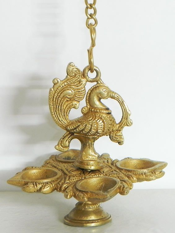 Four Faced Peacock Hanging Diya Silver Pooja Items Brass Decor Peacock Lamp