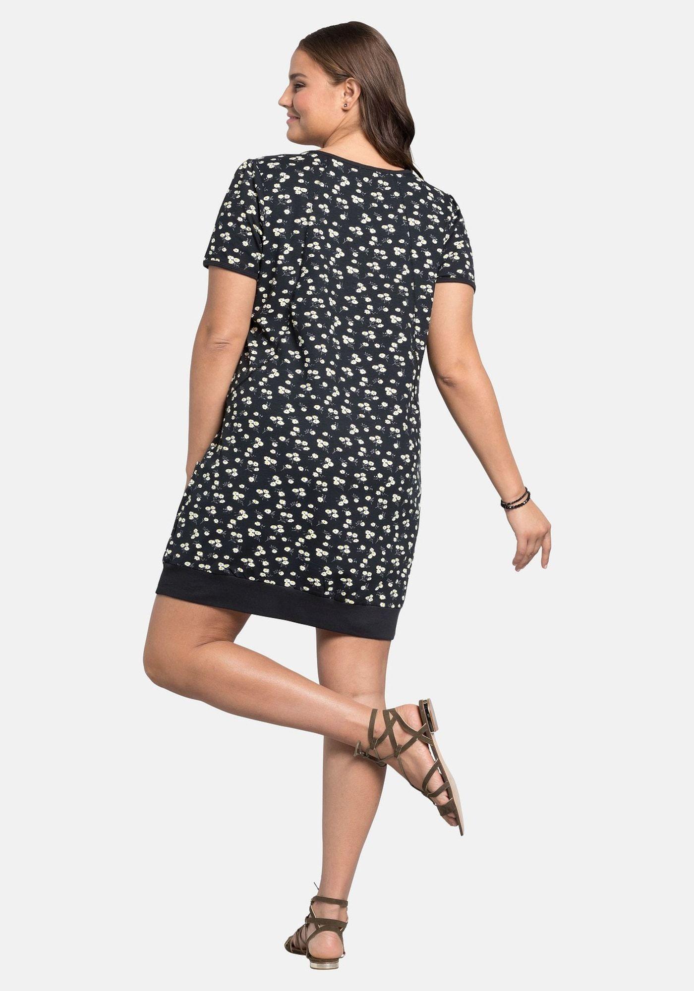 SHEEGO Kleid Damen, Schwarz / Weiß, Größe 14 #weißekleiderkurz