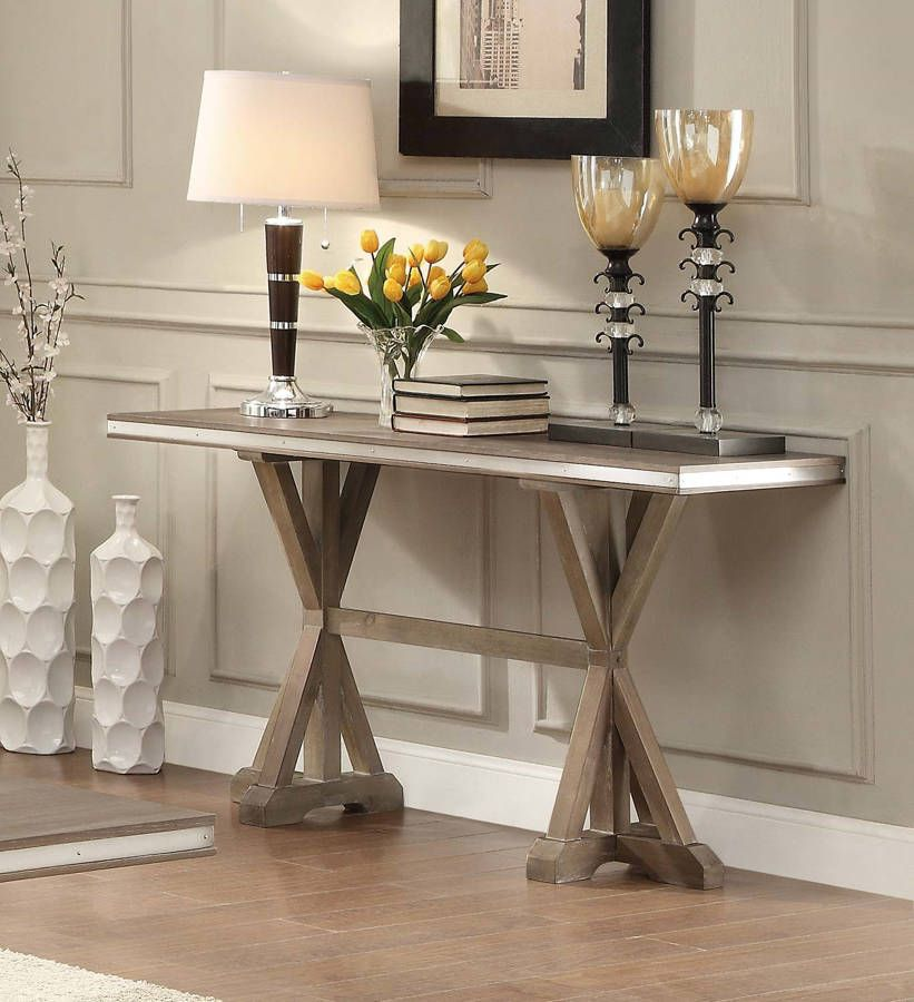 Beaugrand Contemporary Wood X   Base Pedestal Sofa Table
