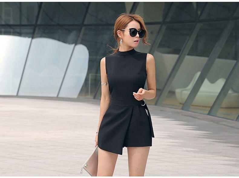 8140da3e2e5 Summer Black Sleeveless Bodysuit Oneck Wide Leg Asymmetrical Jumpsuit  Womens Elegant Sexy Party Office Overalls Body Feminino-in Rompers from  Women s ...