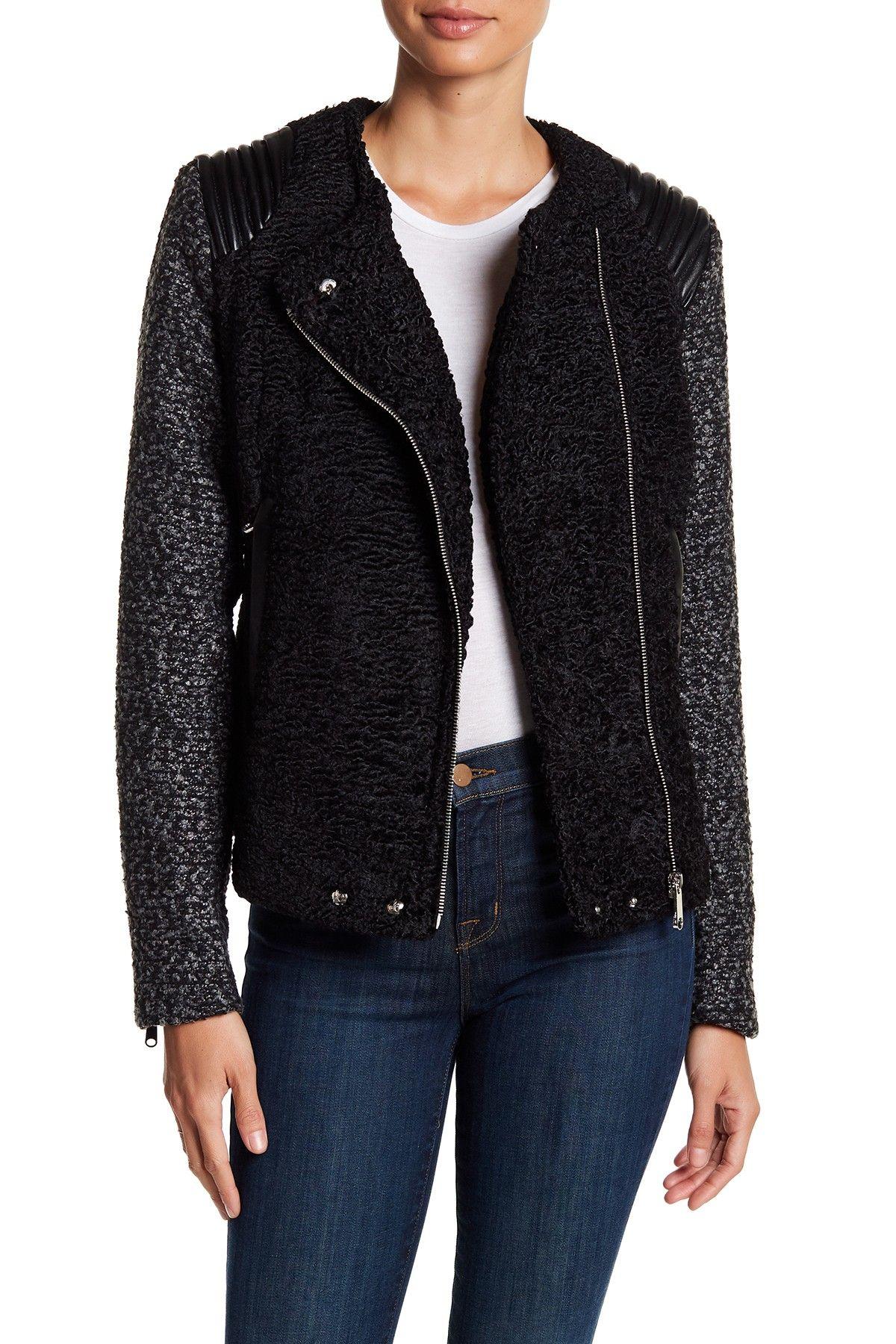 Sam Edelman Asymmetrical Faux Fur & Faux Leather Knit