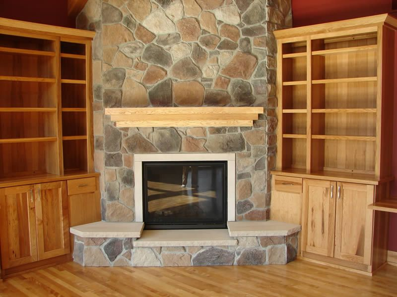 Contemporary Design Stone Fireplace Mantels Wood Floor Oak Cabinet