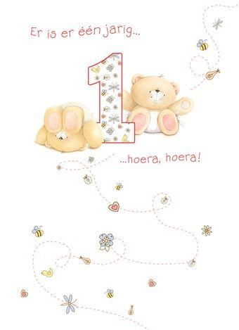 Forever Friends Kaart Je Eerste Verjaardag Van Harte Gefeliciteerd