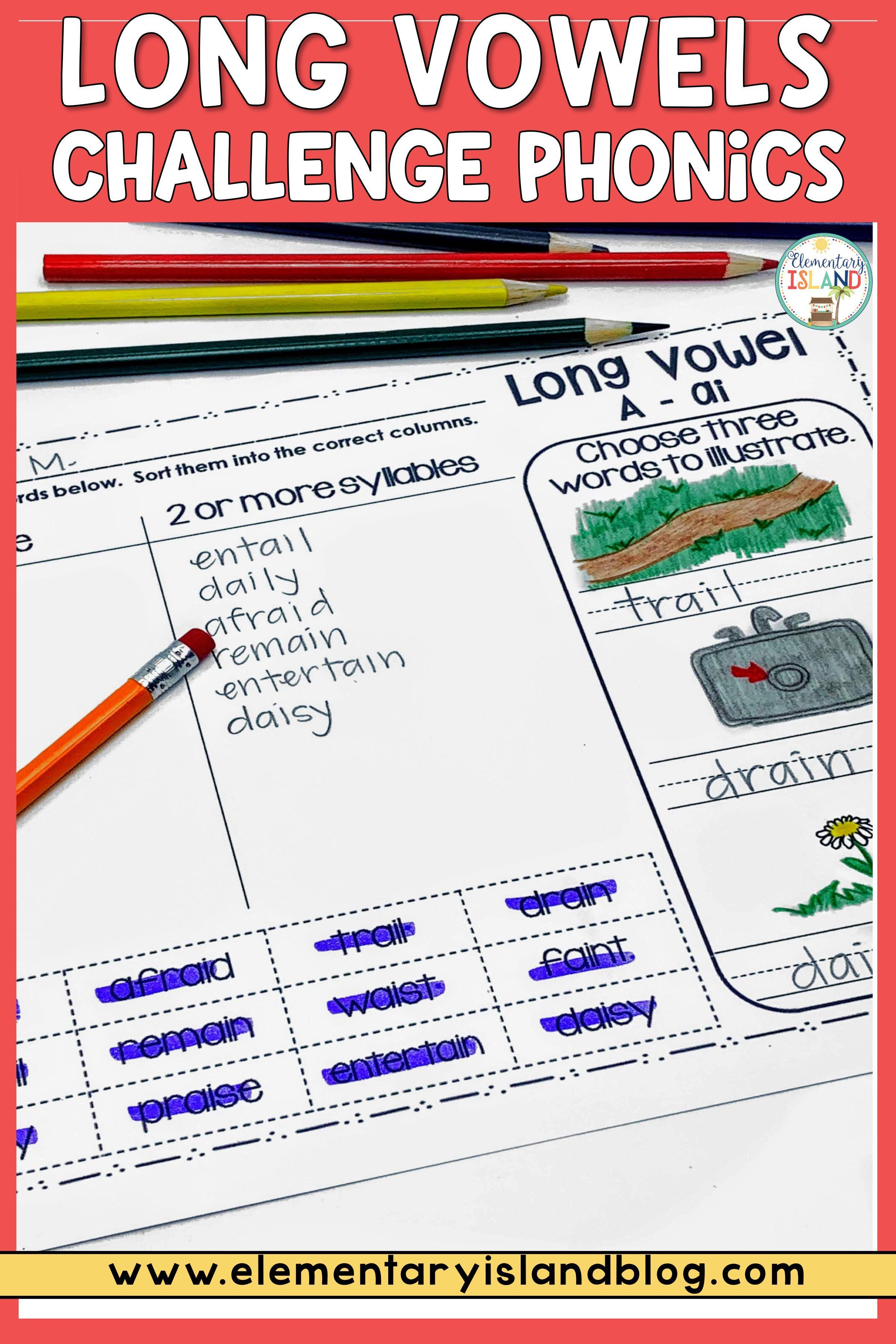 Challenge Phonics Long Vowels Worksheets In