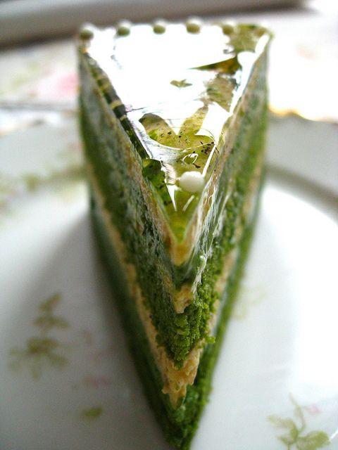 green tea-pistachio opera