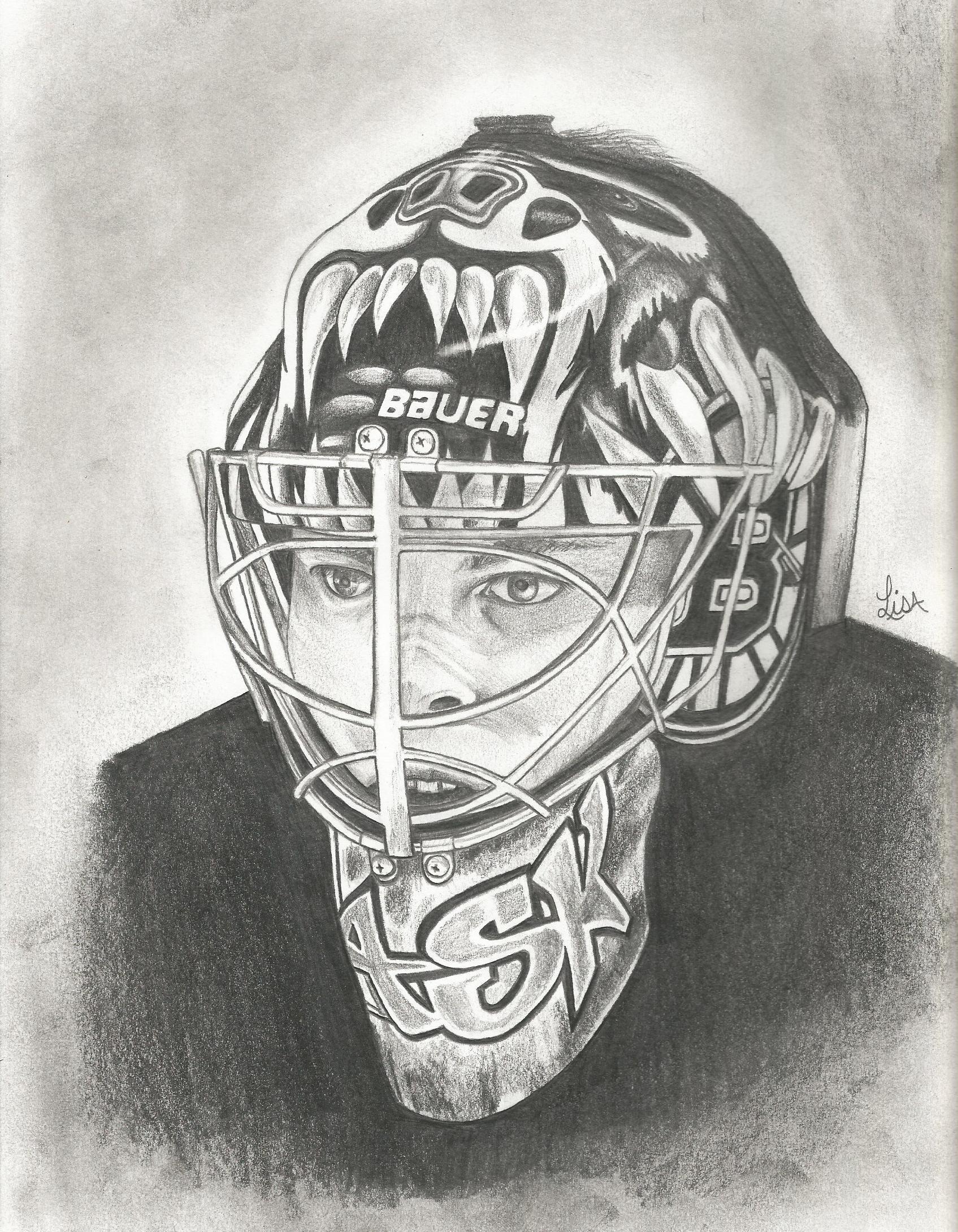 A Pencil Drawing Of Tuukka Rask Goalie For The Boston Bruins By Lisam Drawings Pencil Drawings Art