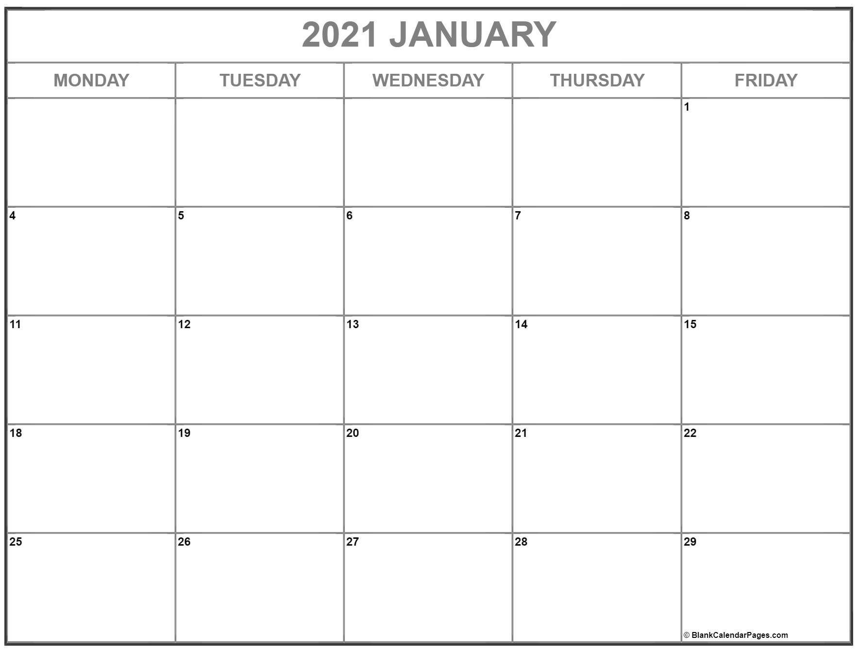 January 2021 Calendar Monday to Friday | Calendar ...