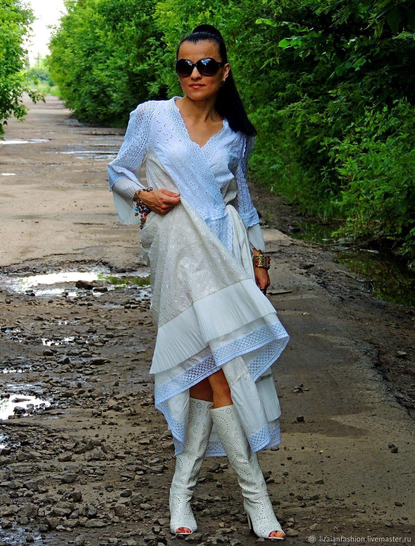 d9ae564079c Платья ручной работы. Летнее БОХО платье. Макси платье. Платье с кружевом  (464