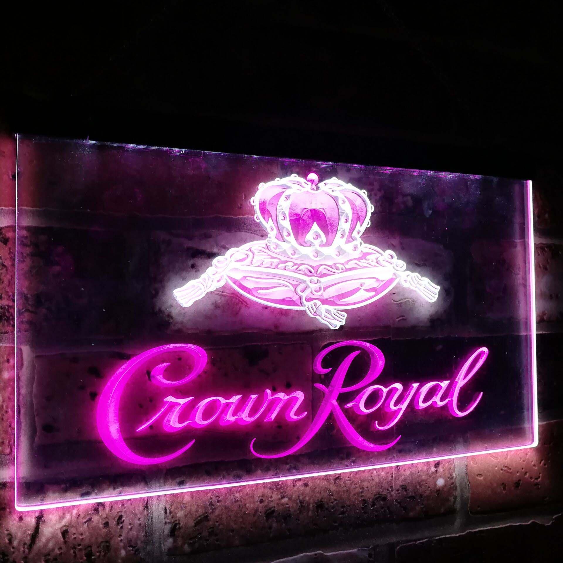 Crown Royal Bar Decoration Gift Dual Color Led Neon Light