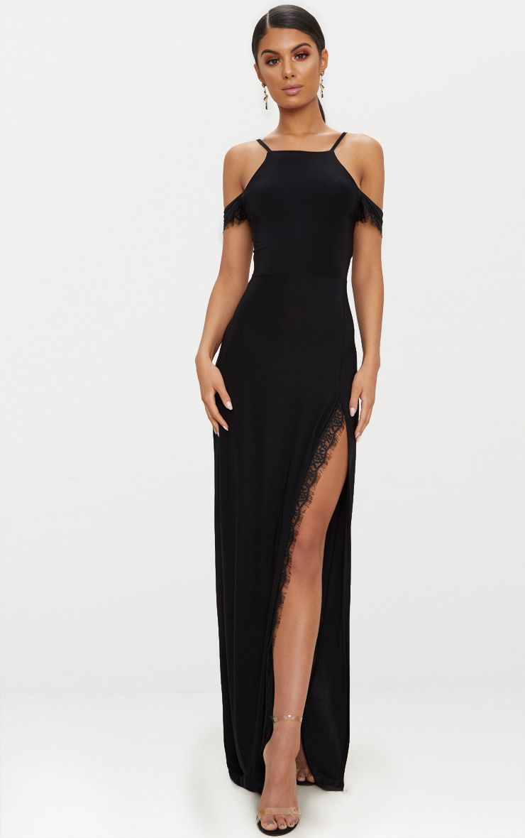 b760a2936fc Black Lace Trim Cold Shoulder Extreme Split Maxi Dress in 2019 ...