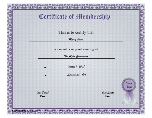 A BluePurple Certificate Of Membership Certifying Good Standing