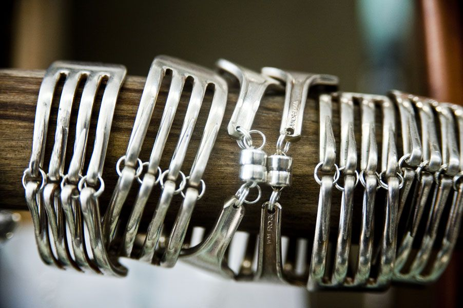 magnetic fork cuff out of vintage silverware handmade by girl ran