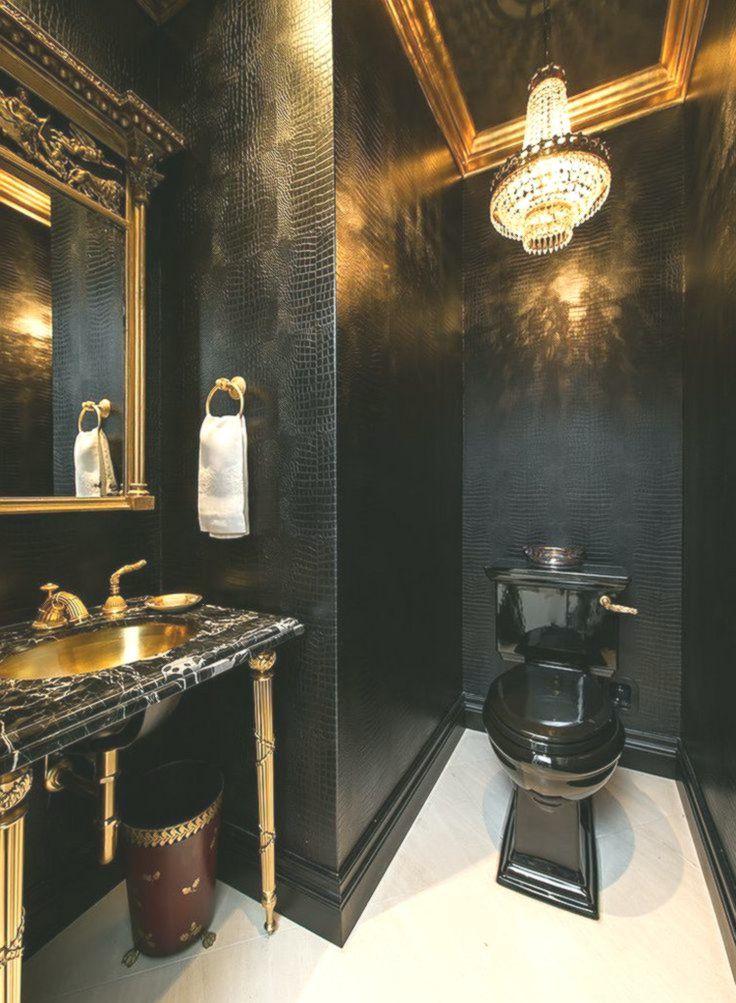 15 Refined Decorating Ideas In Glittering Black And Gold Gold Bathroom Decor Black Bathroom Black And Gold Bathroom