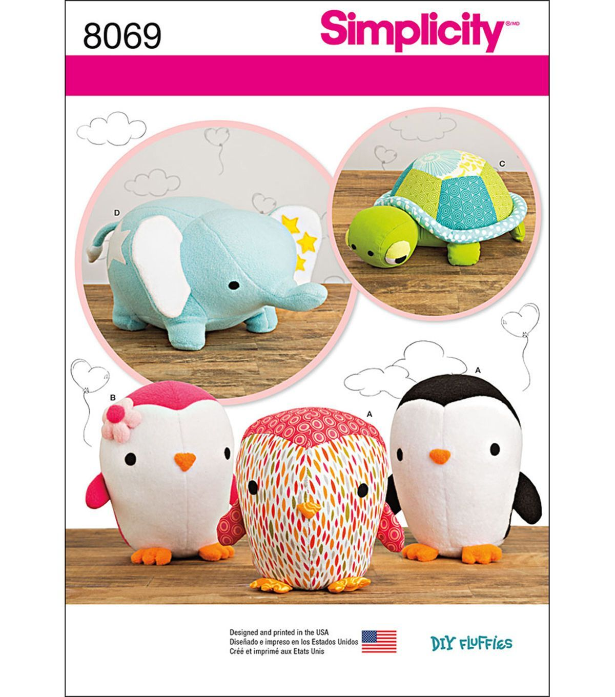 Simplicity stuffed penguins turtle and elephant one size sew adorable patterns for my young sewing students by simplicity stuffed penguins turtle and elephant jeuxipadfo Choice Image