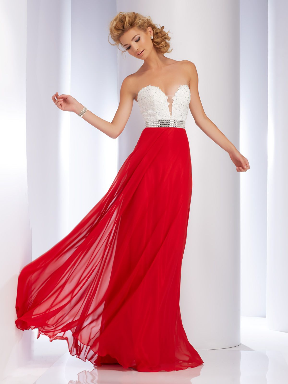 Strapless embellished prom gown from clarisse sizes in white