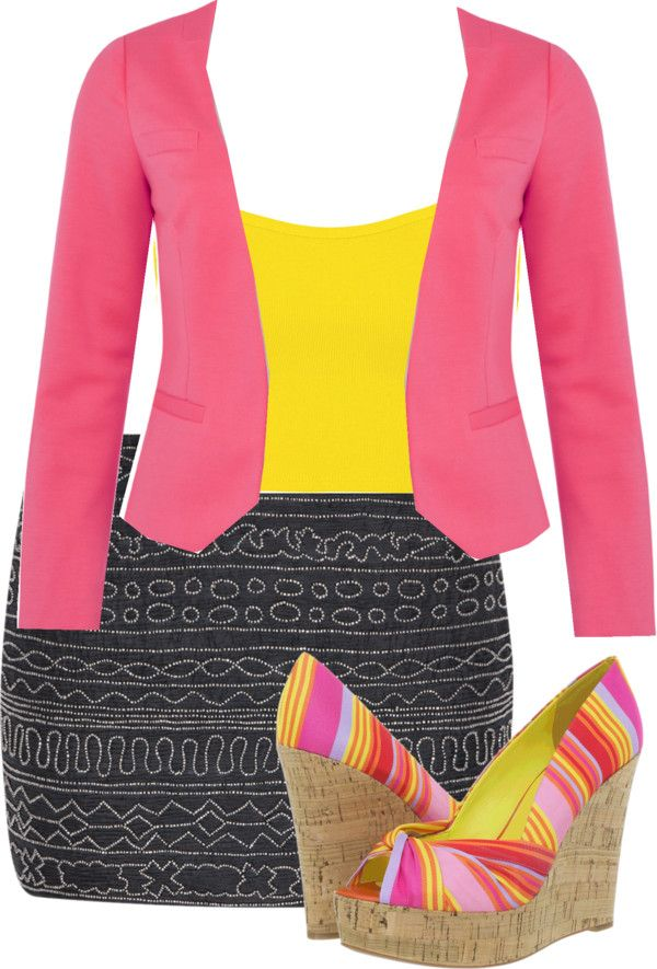 """Pink and Yellow!!"" by ladydrama-syncere ❤ liked on Polyvore"