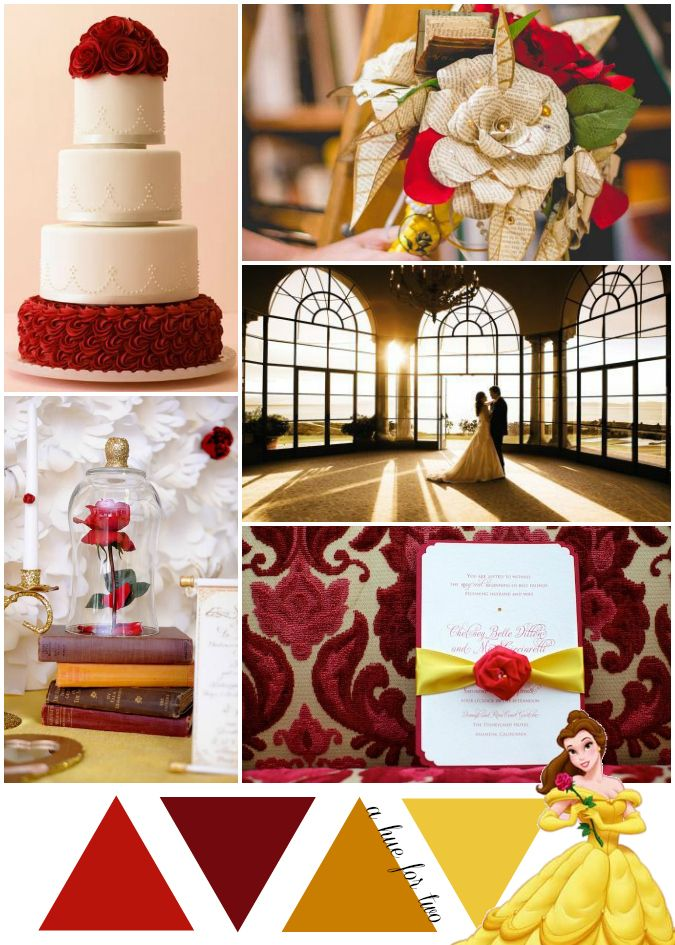 Red, Gold and Yellow Beauty and the Beast Inspired Wedding Theme ...