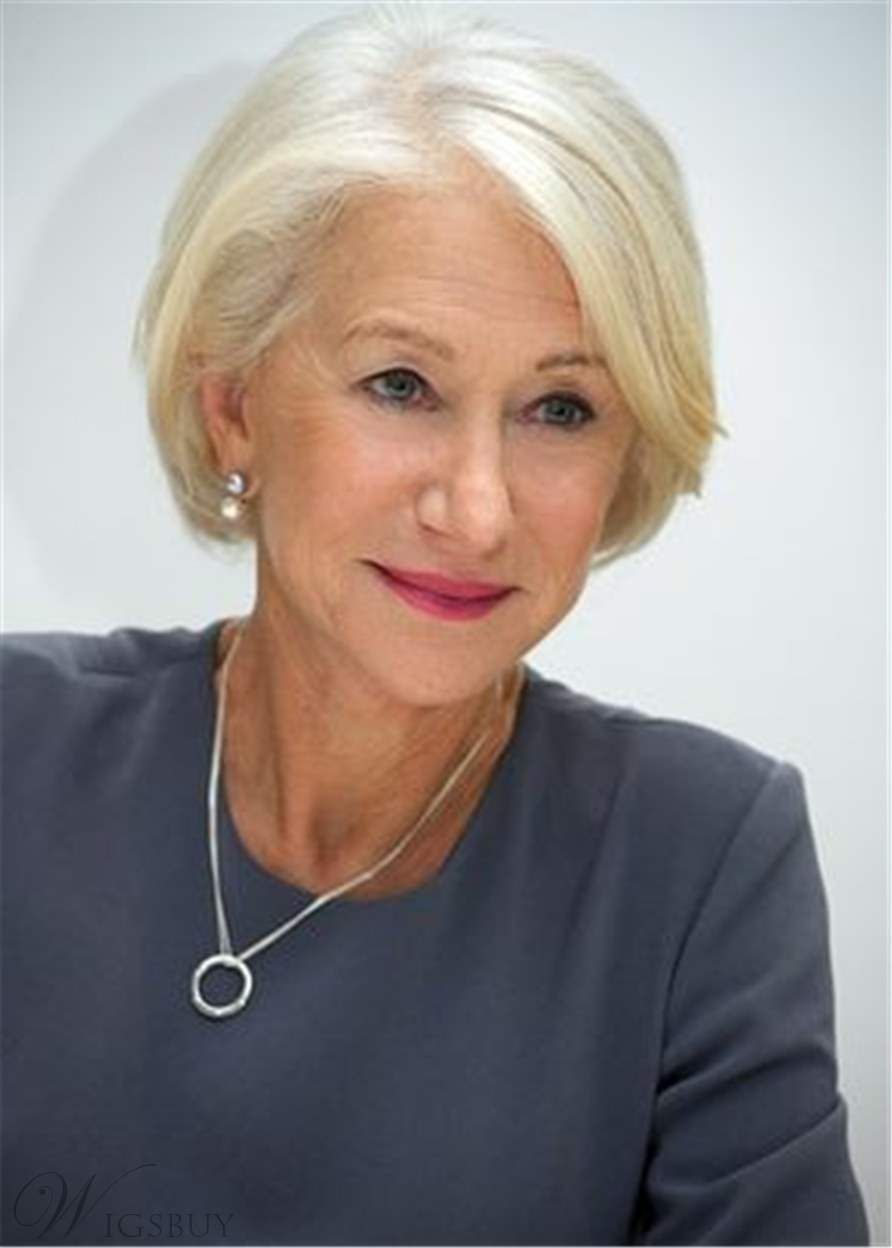 Bob One Side Part White Straight Human Hair Old Women Wig Lace Front Cap 8 Inches Helen Mirren Hair Short Hair Styles Hair Styles