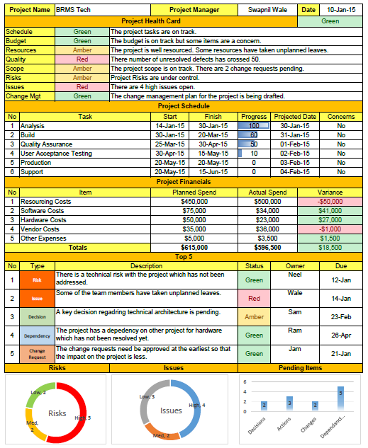 Weekly Status Report Format Excel project Pinterest – Status Report Template