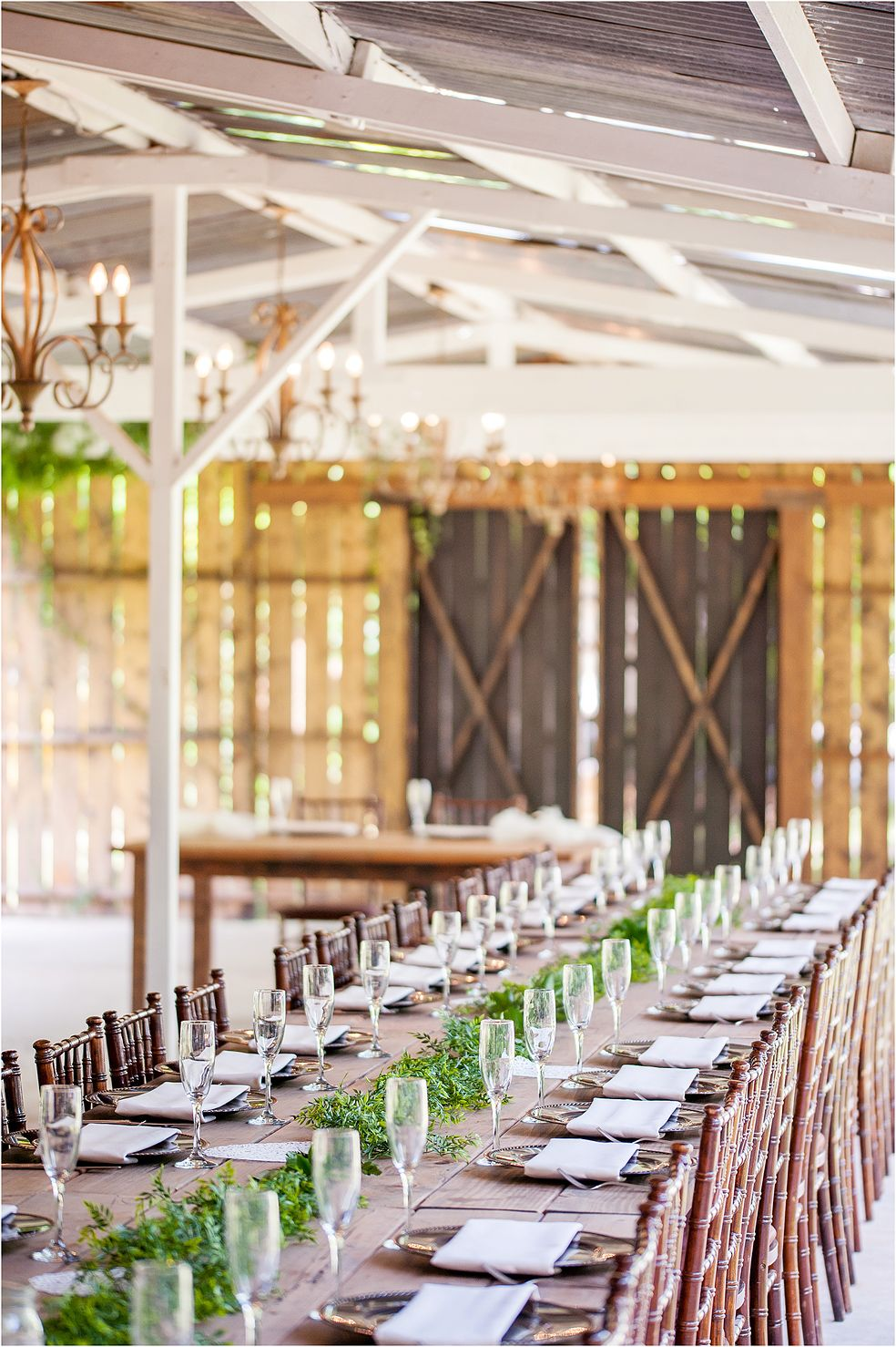 Rustic Long Tabletop For Brunch Wedding Reception In Phoenix