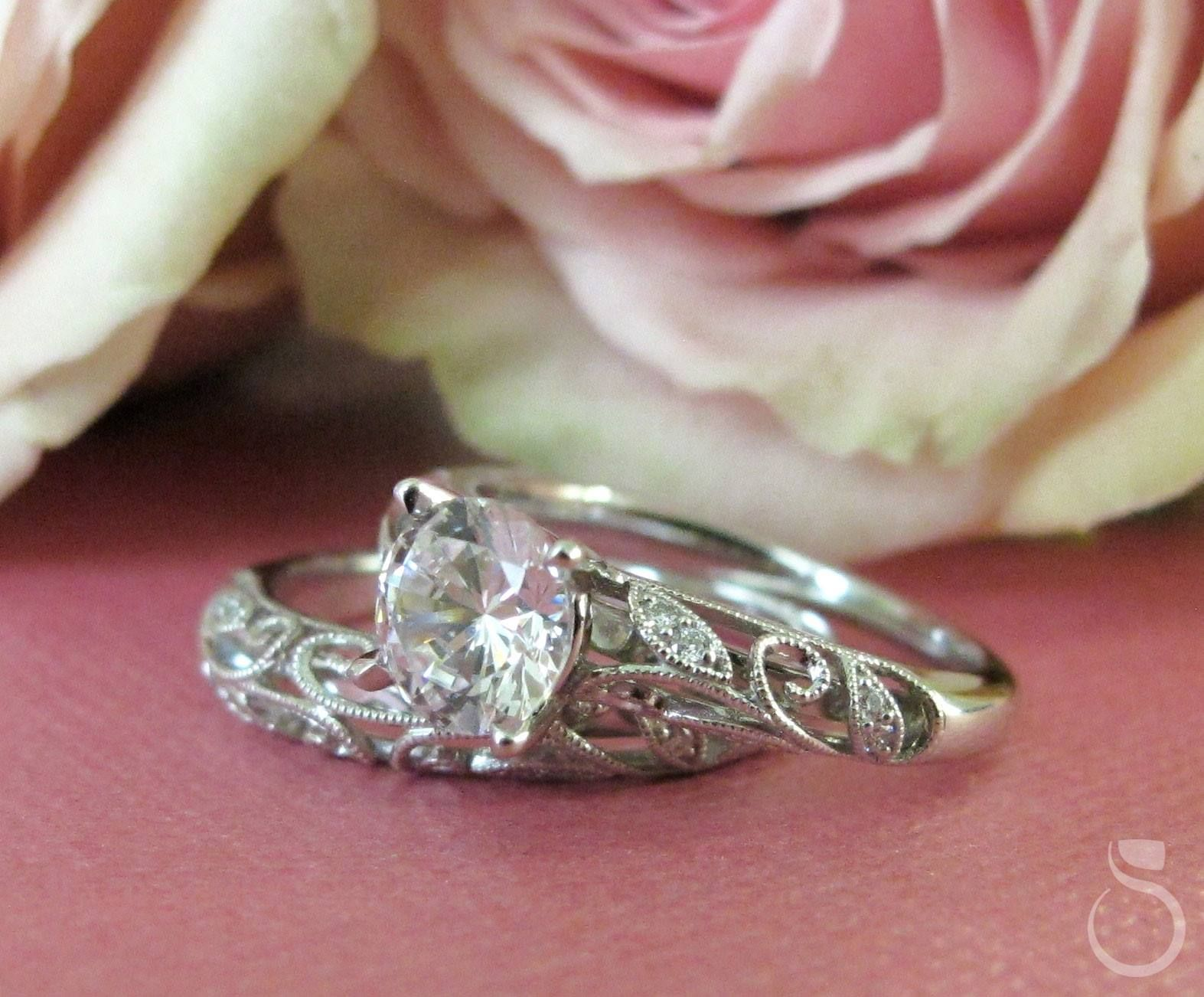 Beautiful Vintage And Floral Inspired Diamond Engagement Ring And Wedding Band From Sylvie Collection S Fine Jewels Designer Engagement Rings Engagement Rings