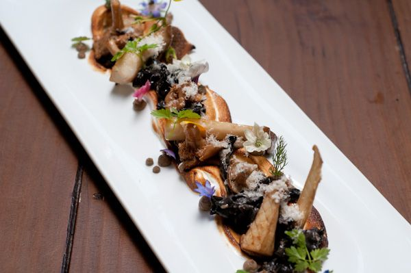 Pickled and Dehydrated Mushrooms, Hazelnut Meringue, Hazelnut Praline, and Pumpernickel Bread