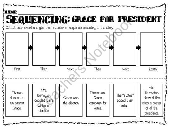 Grace For President Sequencing Worksheet Sequencing Worksheets