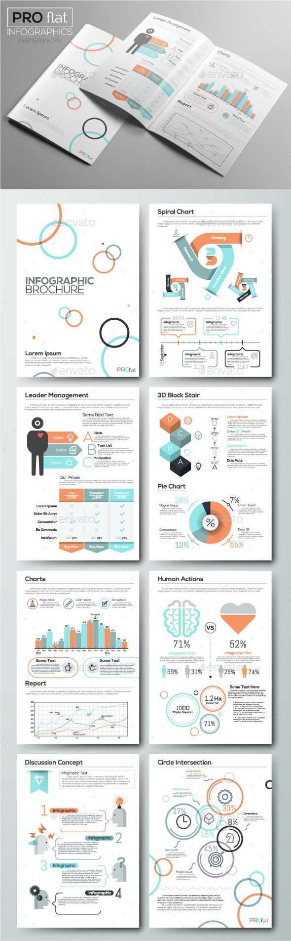 Pro Flat Infographic Brochure. Set 7 | Ai illustrator and Brochure ...