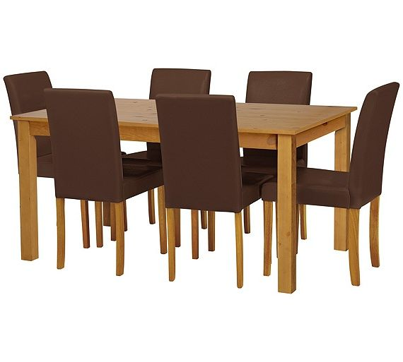 buy home ashdon solid wood table 6 mid back chairs black at