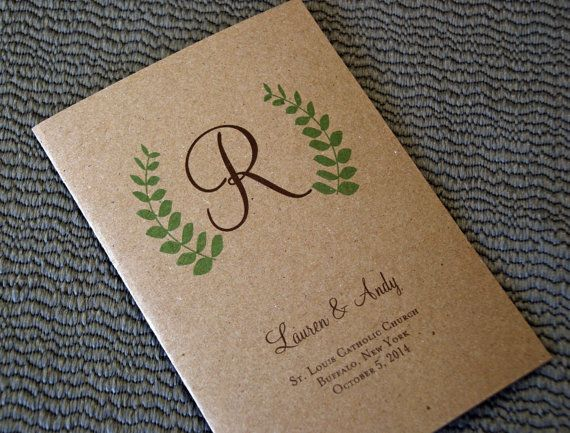 Fern design kraft card stock bi fold 5x7 folded wedding fern design kraft card stock bi fold 5x7 folded wedding programs enough room for extended content for traditional catholic or jewish marriage stopboris Choice Image