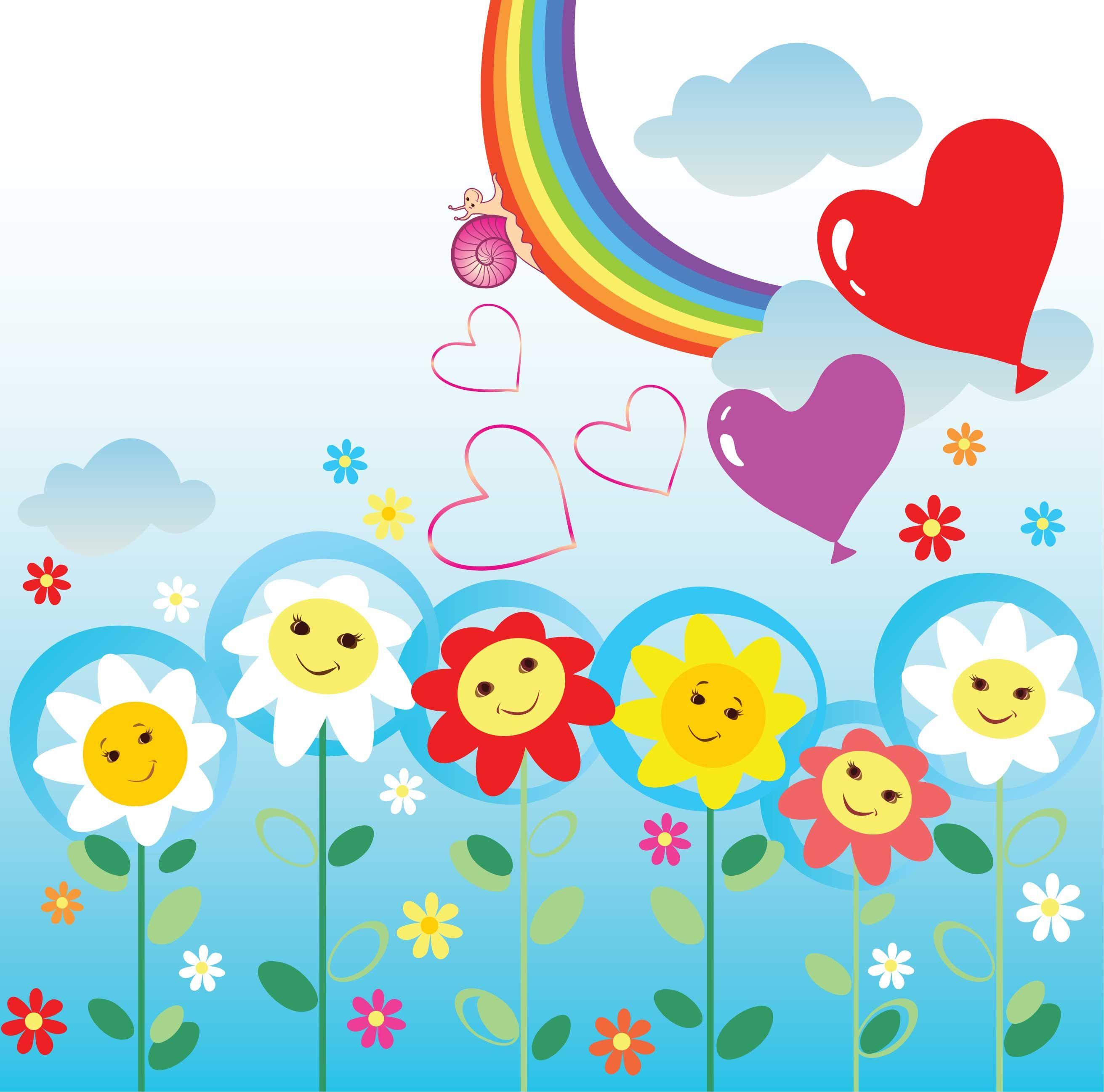 カラフルなのイラスト フリー素材 背景 壁紙no 643 虹 ハート 笑顔 虹 イラスト イラスト 花 イラスト