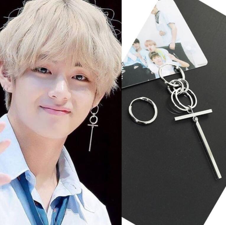 Jisensp Fashion Bts Earrings For Men Asymmetric Pop Jewelry Bangtan Boys V Dna Silver Earings Geometric Korean Earrings Bts Earrings Pop Jewelry Kpop Earrings