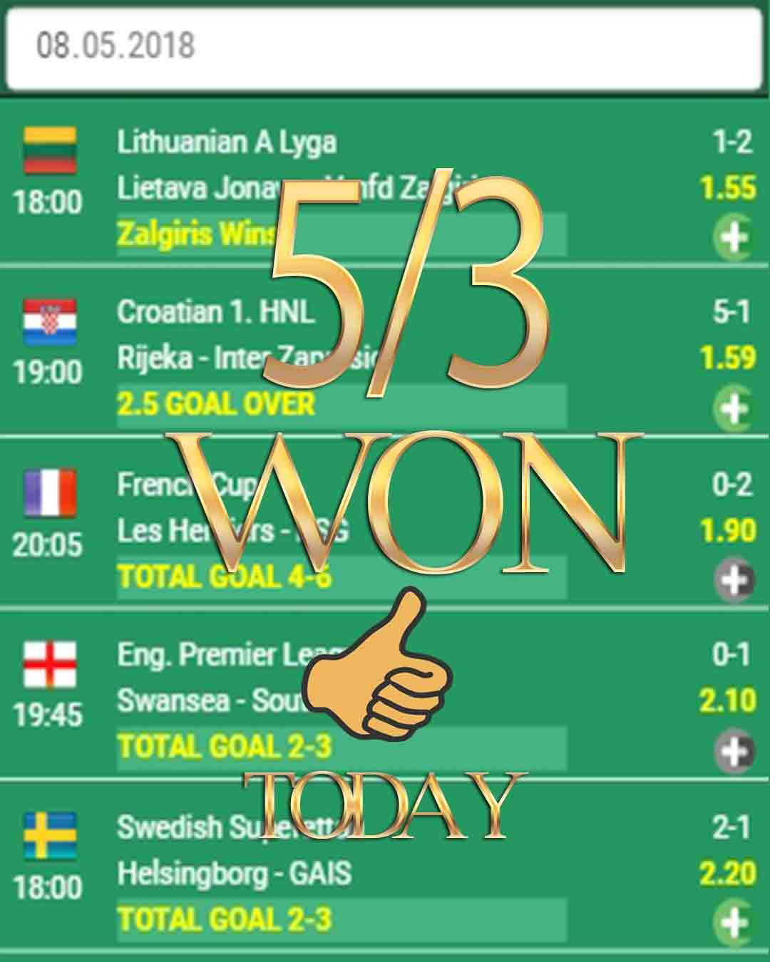 Vip betting odds software 5/3 WON best betting tips