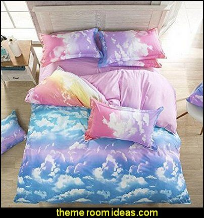 White Pink Blue Yellow Rainbow Cloud For Girls Bedding