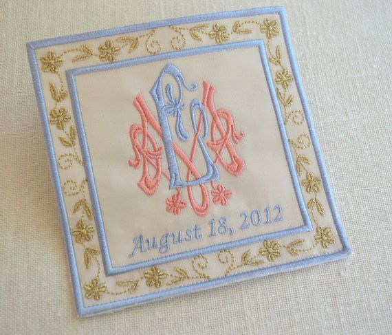 Something Blue idea - a label for inside wedding dress with wedding date  and initials