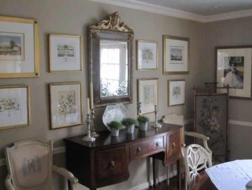 Love The Gallery Wall With Mirror In The Center Green Dining Room Decor Home Decor