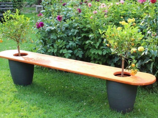Gartenbank Mit Baumen Bauanleitung Fur Sich Selber Bauen Garten Garten Gartengestaltung Ideen