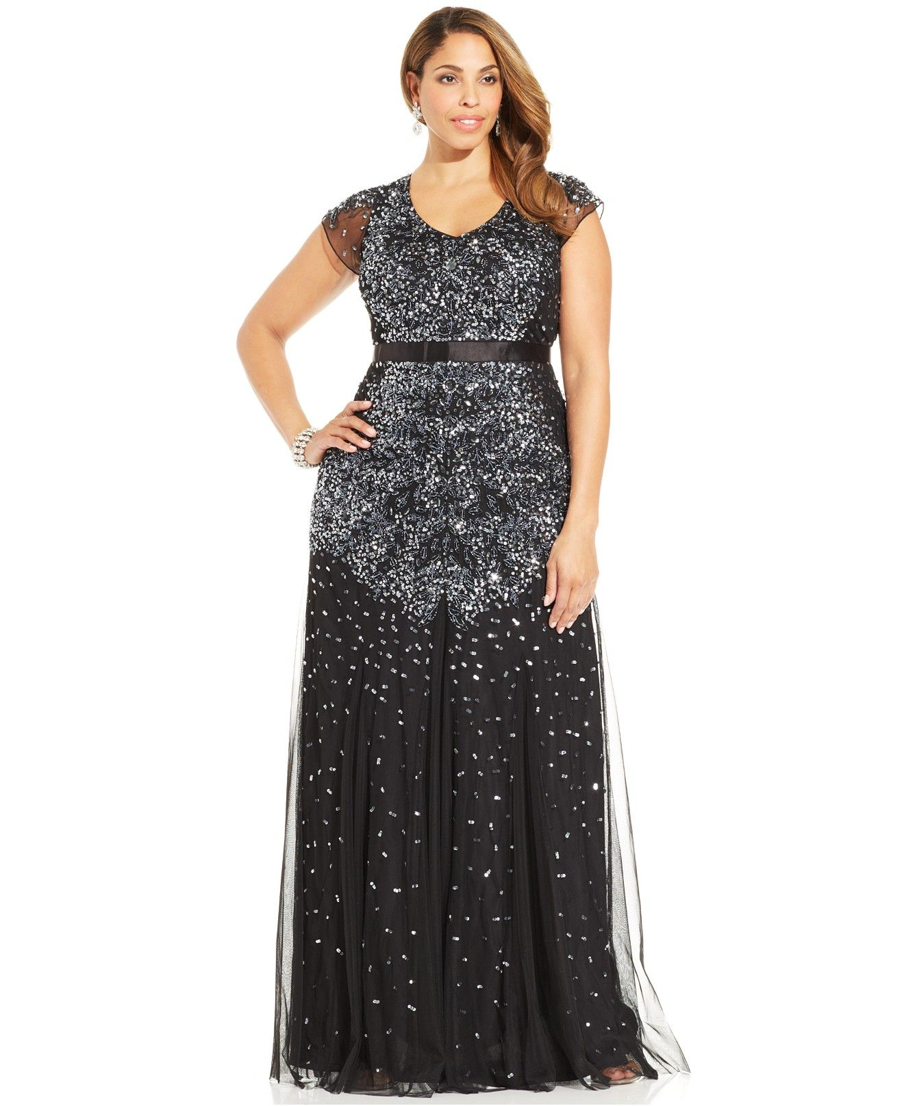 Adrianna Papell Plus Size Cap Sleeve Embellished Gown Dresses