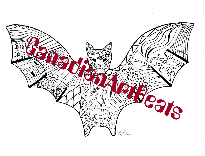 Downloadable Printable Halloween Bat Zentangle inspired
