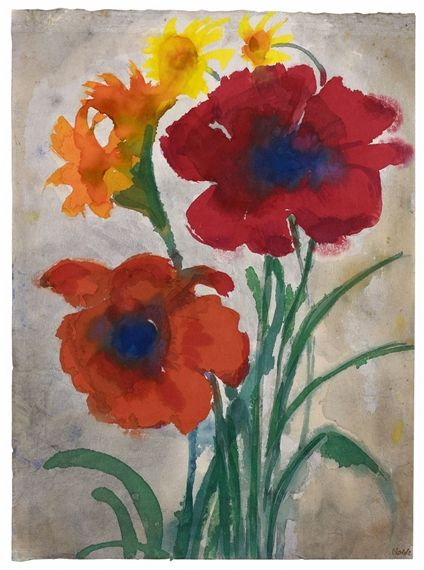 Artwork By Emil Nolde Roter Mohn Mohnblumen Iris Und Sonnenhut Made Of Watercolour On Japan Paper Emil Nolde Artwork Painting