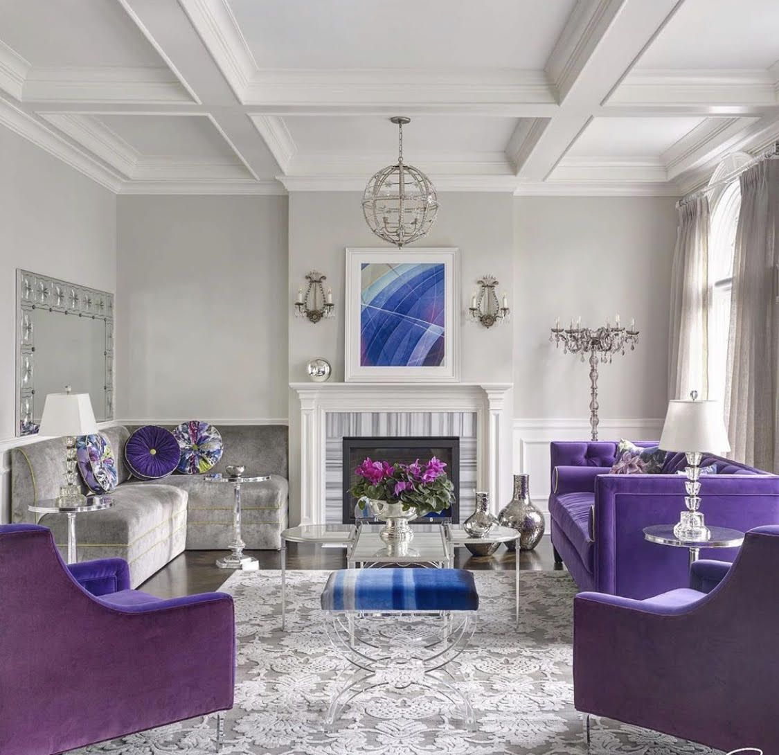 Stunning Glam Living Room Decor In White And Purple With Purple Velvet Sofa Glam Living Room Velvet Sofa Living Room Purple Dining Room Purple and white living rooms