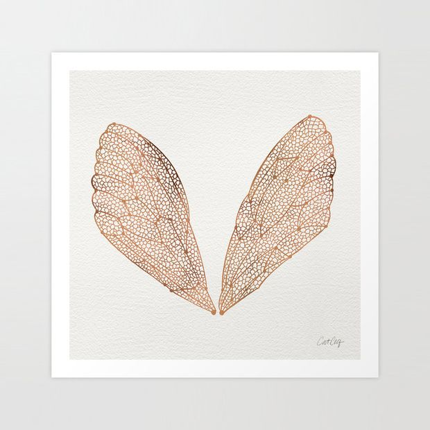 Winged Beauty Art Print in rose gold//